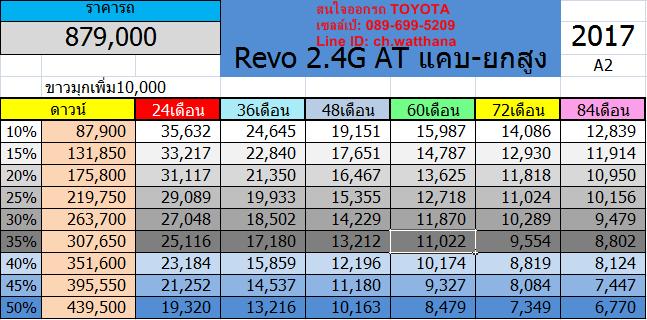 Revo 2.4G AT แคบ-ยกสูง Smart Cab Pre-runner-โปรโมชั่น-ดาวน์ต่ำ-ส่วนลด-ดอกเบี้ย