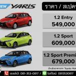สเปค ราคา Toyota Yaris (ท้ายตัด 5 ประตู) 2021 ตารางดาวน์-ผ่อน เทียบออฟชั่น