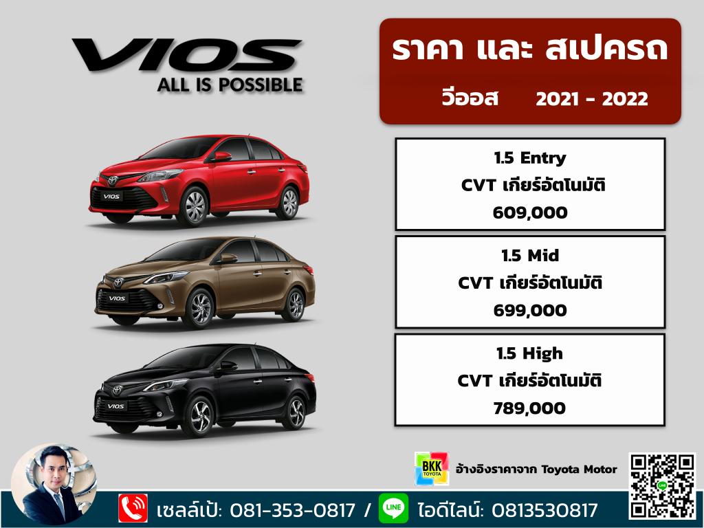 ราคาตารางดาวน์-ผ่อน  Toyota Vios 2021 สเปคและออฟชั่น