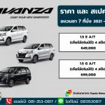 ราคาตารางดาวน์-ผ่อน  Toyota Avanza 2021 สเปคและออฟชั่น