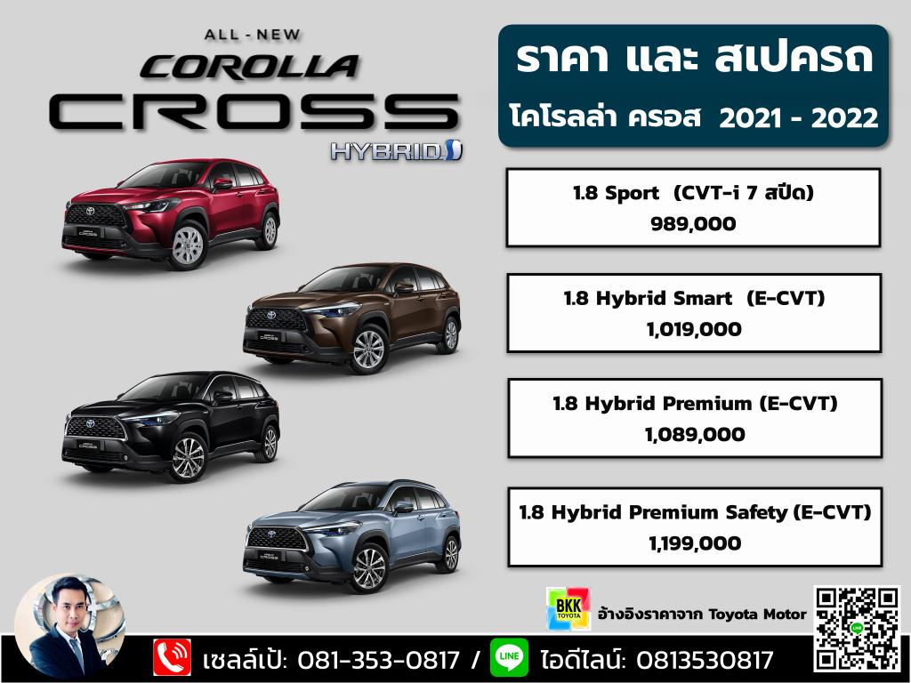 ราคาตารางดาวน์-ผ่อน  Toyota Corolla Cross 2021 สเปคและออฟชั่น