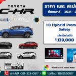 ราคาตารางดาวน์-ผ่อน  Toyota C-HR 2021 สเปคและออฟชั่น