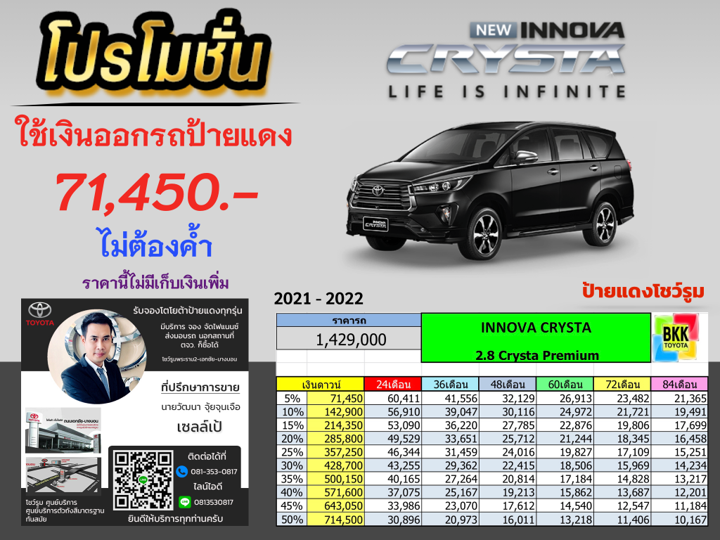 price-installment-down payment-campaign-discount-promotion-toyota Innova Crysta-ตารางผ่อน-ดาวน์ต่ำ-ดาวน์น้อย-ดอกเบี้ยถูกพิเศษ-โปรโมชั่น-ไม่ค้ำ-ผ่อนนาน-ราคา-ส่วนลด-แคมเปญ-ของแถม-รถยนต์โตโยต้า อินโนว่า คริสต้า--อเนกประสงค์ขนาดใหญ่-7ที่นั่ง-ดีเซกเมนท์-ป้ายแดง-เอ็มพีวี-MPV-รถครอบครัว-แต่งอินโนว่า คริสต้า-แต่งInnova Crysta