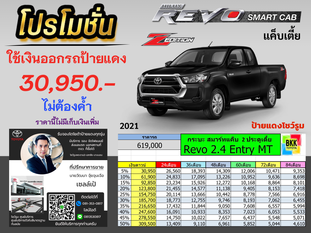 price-installment-down payment-campaign-discount-promotion-toyota revo smart cab z edition-ตารางผ่อน-ดาวน์ต่ำ-ดาวน์น้อย-ดอกเบี้ยถูกพิเศษ-โปรโมชั่น-ไม่ค้ำ-ผ่อนนาน-ราคา-ส่วนลด-แคมเปญ-ของแถม-โตโยต้า รีโว่สมาร์ทแค็บเตี้ย แซดอิดิชั่น กระบะ 2ประตู ตอนครึ่ง