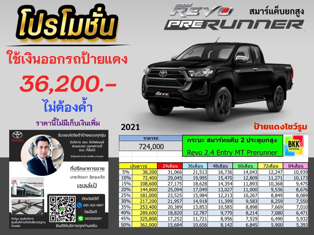 price-installment-down payment-campaign-discount-promotion-toyota revo smart cab prerunner-ตารางผ่อน-ดาวน์ต่ำ-ดาวน์น้อย-ดอกเบี้ยถูกพิเศษ-โปรโมชั่น-ไม่ค้ำ-ผ่อนนาน-ราคา-ส่วนลด-แคมเปญ-ของแถม-โตโยต้า รีโว่สมาร์ทแค็บยกสูง กระบะ2 ประตู ตอนครึ่ง