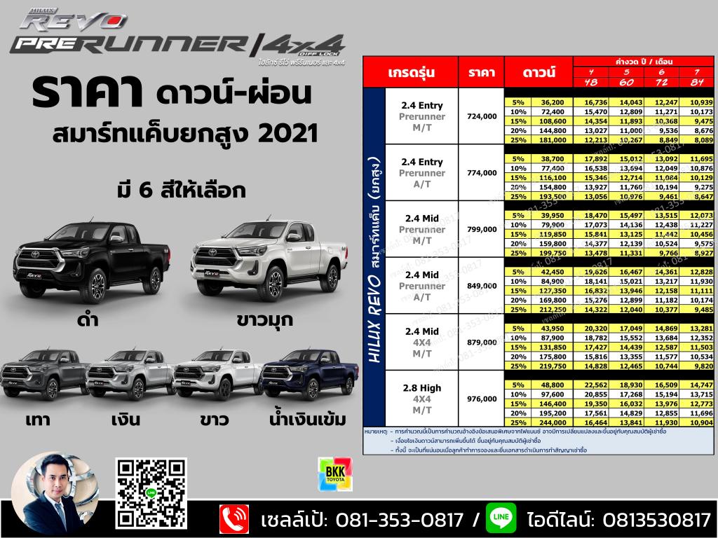 price-installment-down payment-specification comparison-toyota revo smart cab prerunner-ราคา-ตารางดาวน์ผ่อน-สเปค-โตโยต้า รีโว่ สมาร์ทแค็บยกสูง 2 ประตู พรีรันเนอร์ ตอนครึ่ง