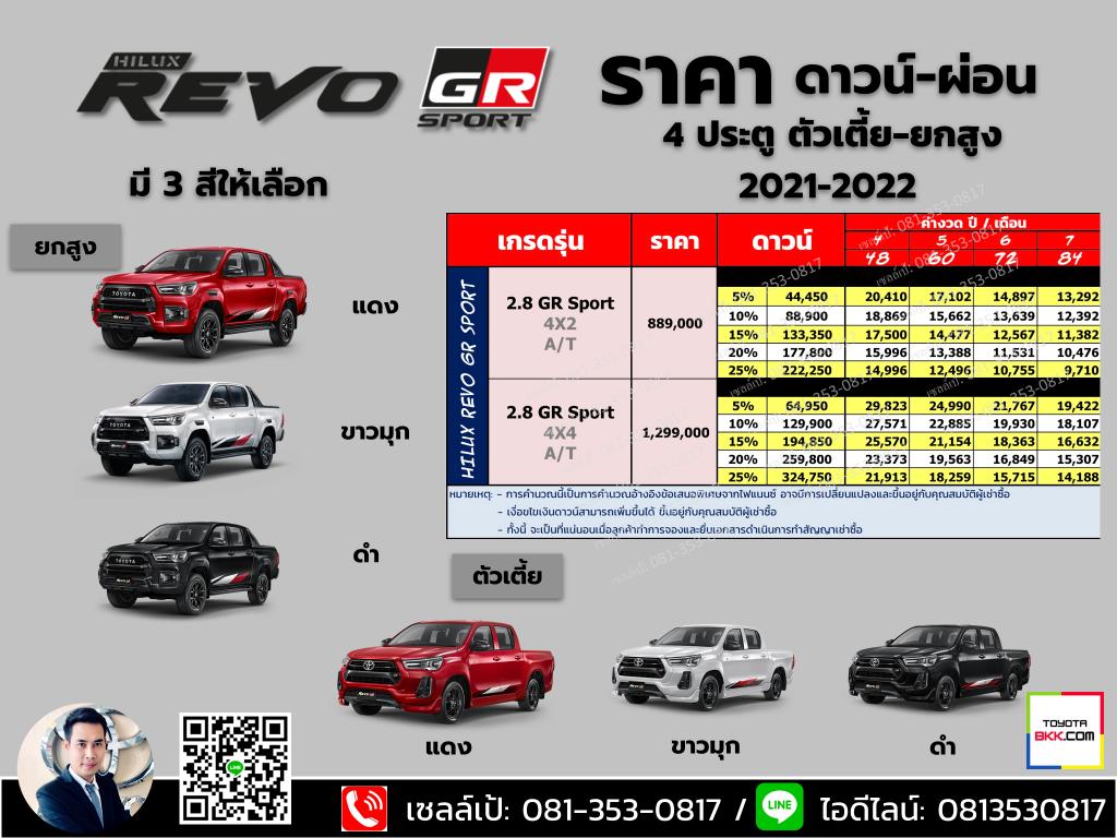 price-installment-down payment-specification comparison-toyota hilux revo gr sport-ราคา-ตารางดาวน์ผ่อน-สเปค-รถยนต์โตโยต้า ไฮลักซ์ รีโว่ จีอาร์ สปอร์ต