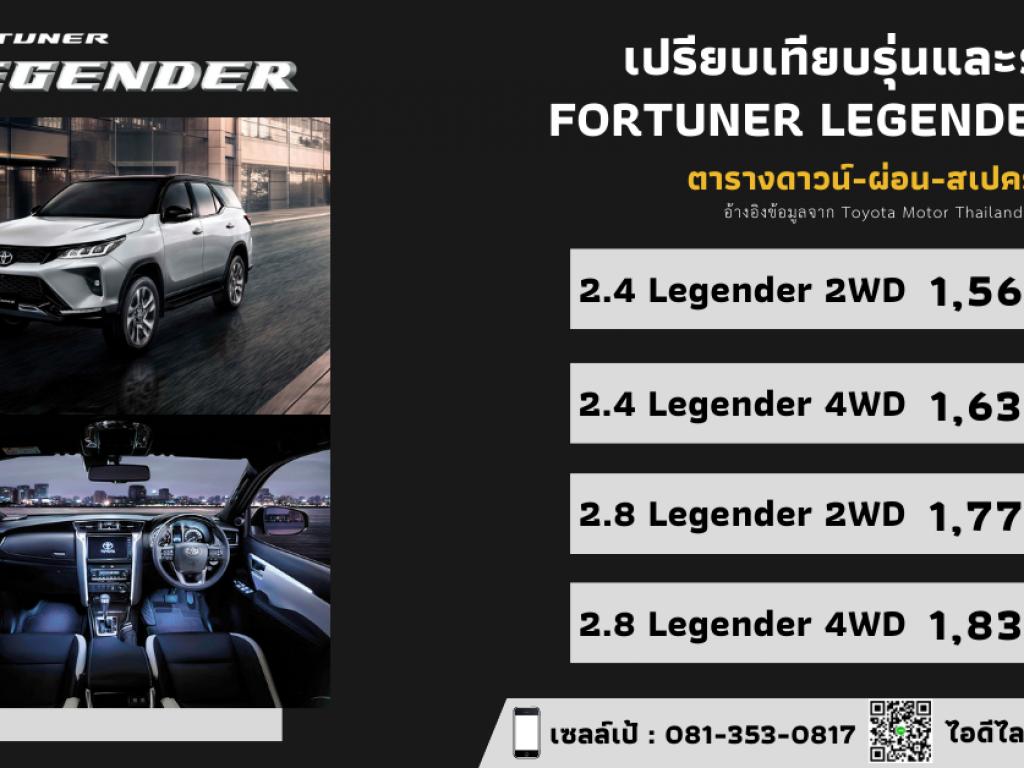 สเปค ราคา Toyota Fortuner Legender 2021 ตารางดาวน์-ผ่อน เทียบออฟชั่น