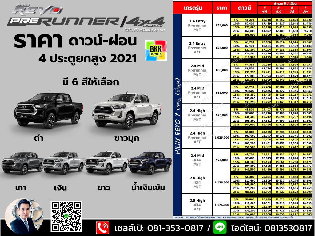 price-installment-down payment-specification comparison-toyota revo double cab prerunner-ราคา-ตารางดาวน์ผ่อน-สเปค-โตโยต้า รีโว่ 4 ประตูยกสูง