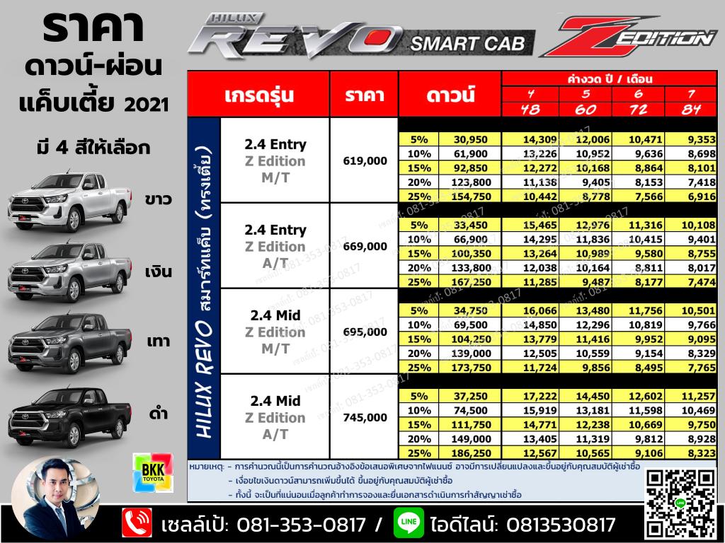 price-installment-down payment-specification comparison-toyota revo smart cab z edition-ราคา-ตารางดาวน์ผ่อน-สเปค-โตโยต้า รีโว่ สมาร์ทแค็บเตี้ย แซดอิดิชั่น 2 ประตู ตอนครึ่ง